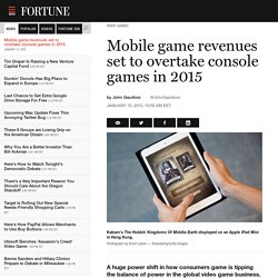 Mobile game revenues will overtake console games in 2015. Here's why.