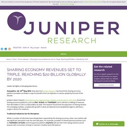 Sharing Economy Revenues Set to Triple, Reaching $20 Billion Globally By 2020 - Juniper Research