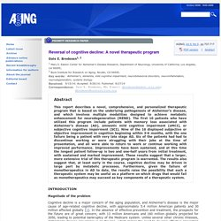 Reversal of cognitive decline: A novel therapeutic program - AGING Journal