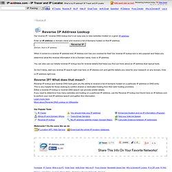 Reverse IP DNS Tool - Free Reverse IP Lookup