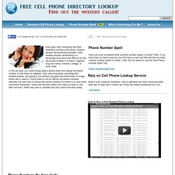Reverse Cell Phone Lookup | Lookup Cell Phone Numbers | Free Cell Phone Directory Lookup