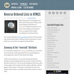 Reverse Ordered Lists in HTML5