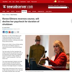 Ellmers reverses course, will decline her paycheck amid shutdown