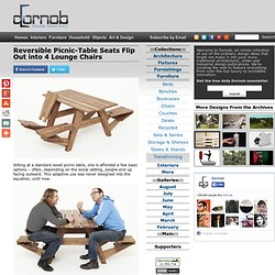 Reversible Picnic-Table Seats Flip Out into 4 Lounge Chairs