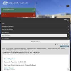A review of developments in the Job Network