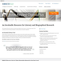 Book Review Digest Plus - Literary Research - EBSCO