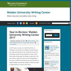 Year-In-Review: Walden University Writing Center 2017