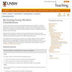 Reviewing Group Member Contributions