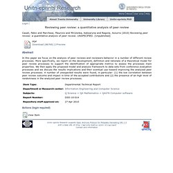 University of Trento - Italy - UNITN-Eprints - Reviewing peer review: a quantitative analysis of peer review
