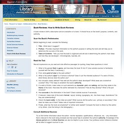 Book Reviews - How to Write Book Reviews | Queen's University Library