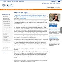 GRE Revised General Test: Analyze an Issue