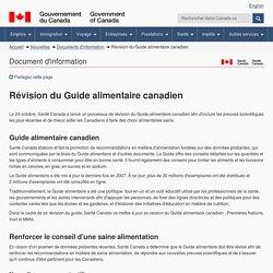 GOUVERNEMENT DU CANADA 24/10/16 Révision du Guide alimentaire canadien