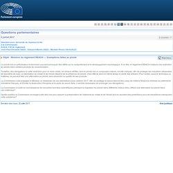 PARLEMENT EUROPEEN - Réponse à question E-004569-17 Révision du règlement REACH — Exemptions faites au plomb