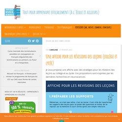Une affiche pour les révisions des leçons (collège et lycée) - Apprendre, réviser, mémoriser