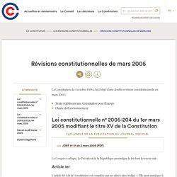 Charte de l'environnement - révisions constitutionnelles de mars 2005