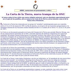 Revista ARBIL, n 18 La Carta de la Tierra, nueva trampa de la ONU