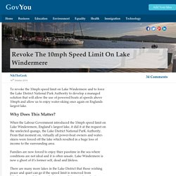 Revoke the 10mph speed limit on Lake Windermere - GovYou