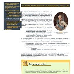 2.3. Fases de la Revolución: la radicalización. 1791-1794