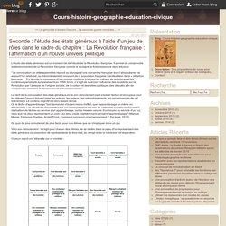 Seconde : l'étude des états généraux à l'aide d'un jeu de rôles dans le cadre du chapitre : La Révolution française : l'affirmation d'un nouvel univers politique