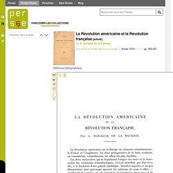 La Révolution américaine et la Révolution française