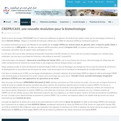 CENTRE NATIONAL DE RECHERCHE EN BIOTECHNOLOGIE (DZ) 21/10/20 CRISPR/CAS9, une nouvelle révolution pour la biotechnologie