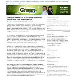 Quelques mots sur « la troisième révolution industrielle » de Jeremy Rifkin — Green business