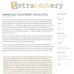 Airbnb and the Internet Revolution - Stratechery by Ben Thompson