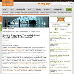 Memo to Trustees re: Thomas Friedman's 'Revolution Hits the Universities'