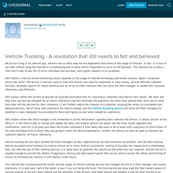 Vehicle Tracking - A revolution that still needs to felt and believed: vantracking1