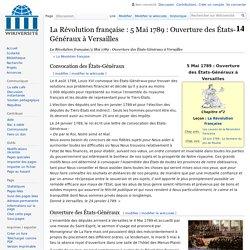 La Révolution française/5 Mai 1789 : Ouverture des États-Généraux à Versailles