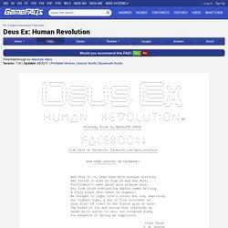 Deus Ex: Human Revolution FAQ/Walkthrough for PC by Absolute Steve
