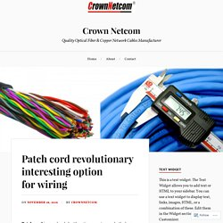 Patch cord revolutionary interesting option for wiring – Crown Netcom