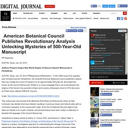 American Botanical Council Publishes Revolutionary Analysis Unlocking Mysteries of 500-Year-Old Manuscript