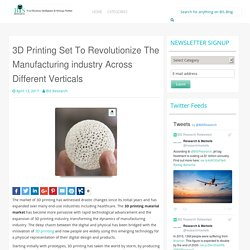 3D Printing Set To Revolutionize The Manufacturing industry Across Different Verticals