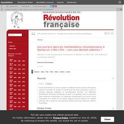 Les ouvriers dans les manifestations révolutionnaires à Nantes en 1789-1791: vers une identité collective?
