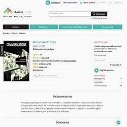 Revue Communications 2011/1, Cultures du numérique