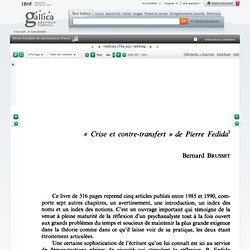 Crise et contre-transfert de Pierre Fedida