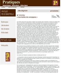 Revue Pratiques : pr sentation du n 111/112