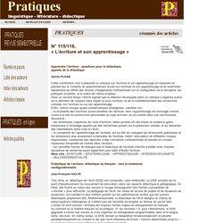 Revue Pratiques : r sum s du n 115