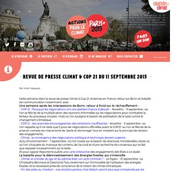 Revue de presse climat & Cop 21 du 11 septembre 2015