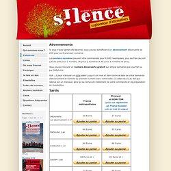 Revue S!lence- Abonnements