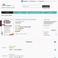 Revue La Revue des Sciences de Gestion 2014/5