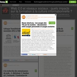 Revue sticef.org - Les usages des TIC par les lycéens - déconnexion entre usages personnels et usages scolaires