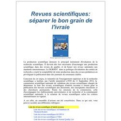 Revues Scientifiques: séparer le bon grain de l'ivraie