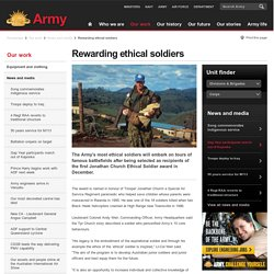 Rewarding ethical soldiers