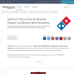 Domino's® Piece of the Pie Rewards Program Just Became More Rewarding