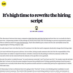 It's high time to rewrite the hiring script - Signal v. Noise