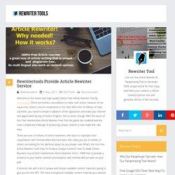 Rewritertools Provide Article Rewriter Service - Free Online Rewriter Tools