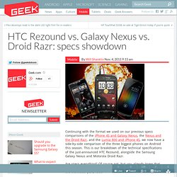 HTC Rezound vs. Galaxy Nexus vs. Droid Razr: specs showdown – Cell Phones & Mobile Device Technology News & Updates