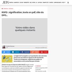 RGPD: signification, texte en pdf, rôle du DPO...